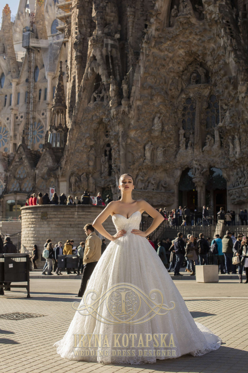 Elegant wedding gown of a magnificent silhouette with lacing on the back