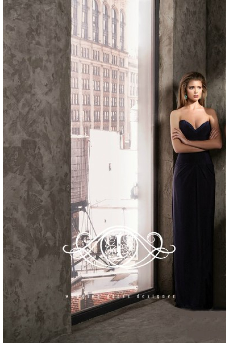 Laura is a stylish long dress with open shoulders is made of gentle French knit
